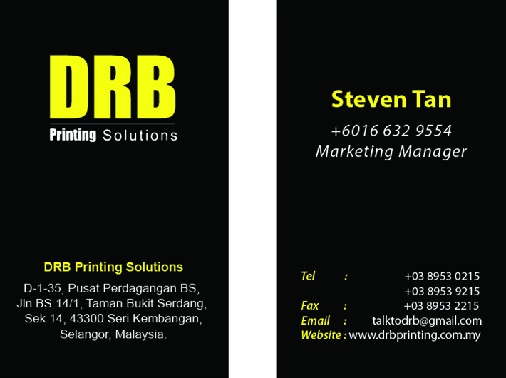 Name card printing services drb printing booklet printing print reheart Image collections